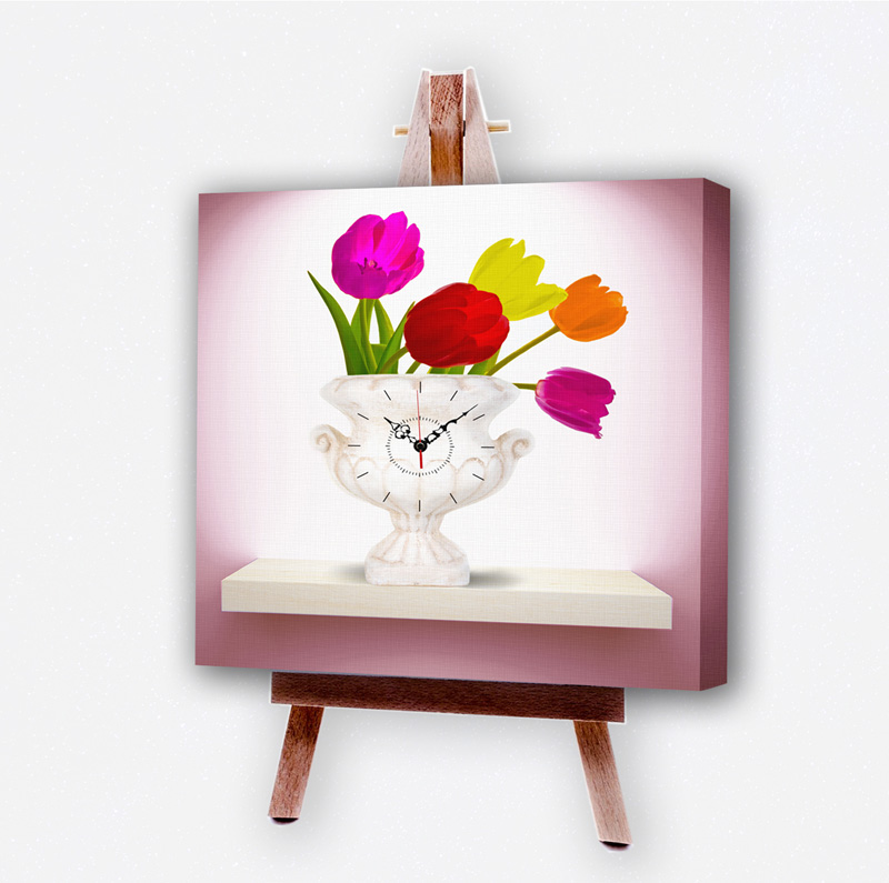 Canvas Print Art Wall Clock Unique Design Heavenly Tulips 16 X 16 In 1 Panel Skykreation